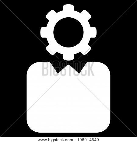 Bureaucrat vector icon. Style is flat graphic symbol, white color, black background.