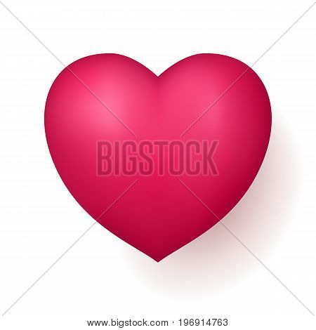 Red love heart. Valentines gift or declaring feeling to a close person, sexual desire, affection. Realistic vector illustration on white background