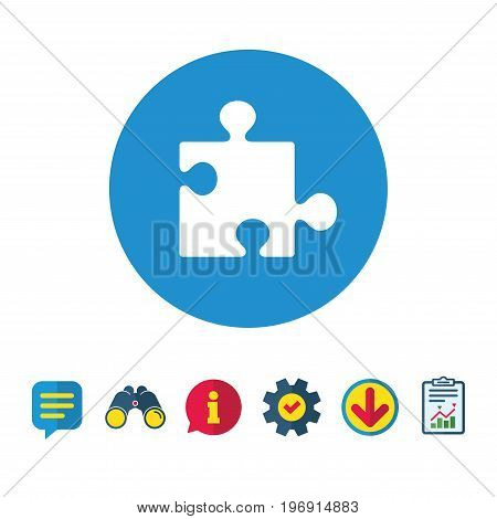 Puzzle piece sign icon. Strategy symbol. Information, Report and Speech bubble signs. Binoculars, Service and Download icons. Vector