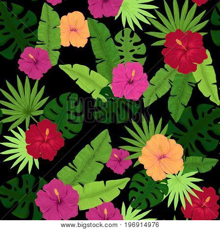 Seamless Pattern of Colorful Hibiscus and Palm Leaves on Dark Background