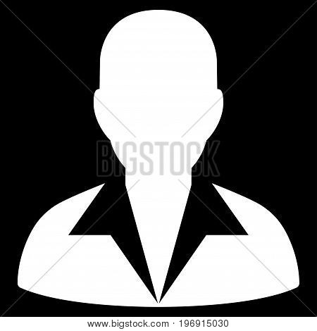 Clerk vector icon. Style is flat graphic symbol, white color, black background.