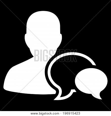 Forum Moderator vector icon. Style is flat graphic symbol, white color, black background.