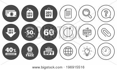 Sale discounts icon. Shopping cart, buying and cash money signs. 40, 50 and 60 percent off. Special offer symbols. Document, Globe and Clock line signs. Lamp, Magnifier and Paper clip icons. Vector