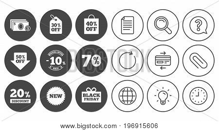 Sale discounts icon. Shopping, black friday and cash money signs. 10, 20, 50 and 70 percent off. Special offer symbols. Document, Globe and Clock line signs. Lamp, Magnifier and Paper clip icons