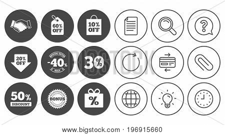 Sale discounts icon. Shopping, handshake and bonus signs. 20, 30, 40 and 50 percent off. Special offer symbols. Document, Globe and Clock line signs. Lamp, Magnifier and Paper clip icons. Vector