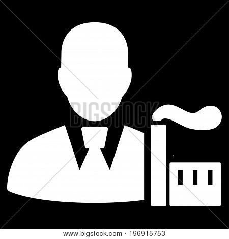 Industry Capitalist vector pictogram. Style is flat graphic symbol, white color, black background.