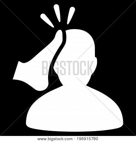 Kickboxer vector pictogram. Style is flat graphic symbol, white color, black background.