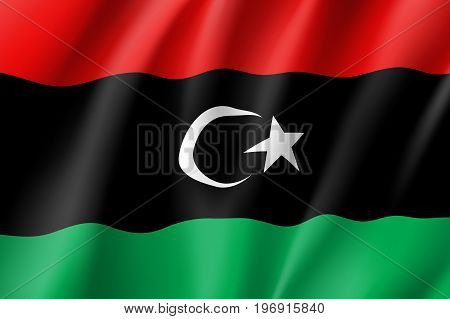 Libya flag. National patriotic symbol in official country colors. Illustration of Africa state waving flag. Realistic vector icon