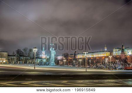 Monument of Vladimir. Moscow Kremlin in winter night. Russia