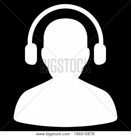 Listen Operator vector icon. Style is flat graphic symbol, white color, black background.