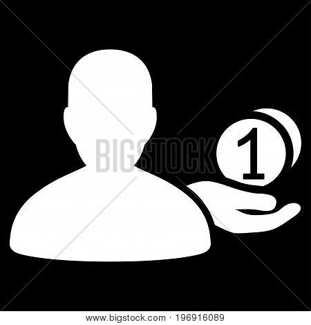 Panhandler vector icon. Style is flat graphic symbol, white color, black background.