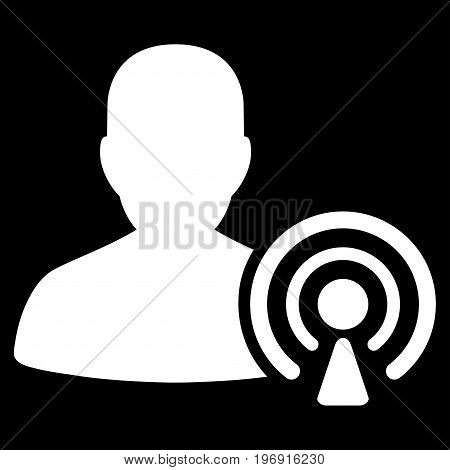 Podcast Creator vector pictograph. Style is flat graphic symbol, white color, black background.
