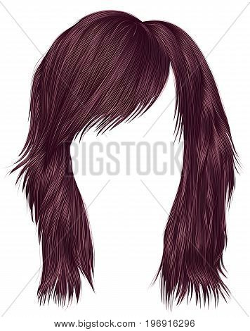 trendy woman hairs сopper pink color . medium length . beauty style . realistic 3d .