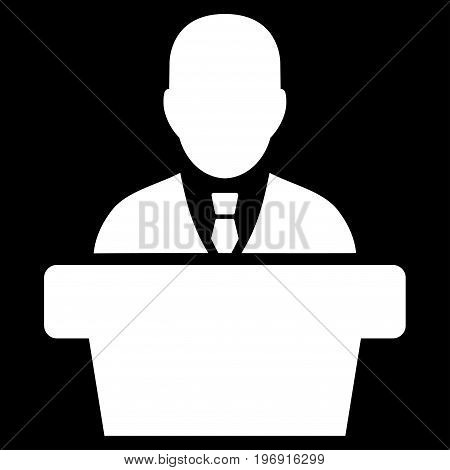 Politician vector icon. Style is flat graphic symbol, white color, black background.