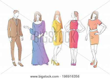Fashion Collection Of Clothes Female And Male Models Wearing Trendy Clothing Trendy Clothing Vector Illustration