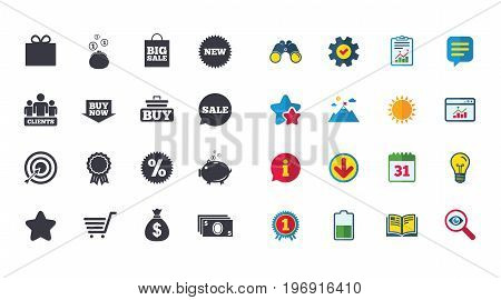 Set of Shopping, E-commerce and Business icons. Big sale, Gift box and Discounts signs. Clients, Sale and Shopping cart symbols. Calendar, Report and Browser window signs. Vector