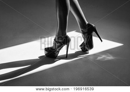 legs or feet in high heel shoes stand indoor on sunny floor black and white