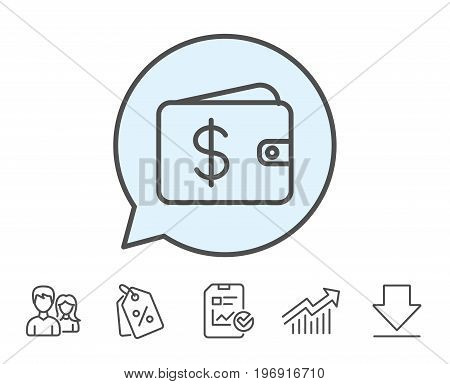 Shopping Wallet line icon. Dollar sign. USD Money pocket symbol. Report, Sale Coupons and Chart line signs. Download, Group icons. Editable stroke. Vector