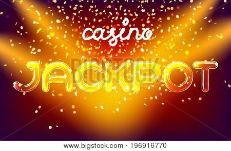 Jackpot online casino win lettering live stage on background with glowing wall. Vector abstract background