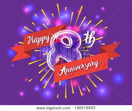 Happy 8th anniversary. Glass bulb number with ribbon and party decoration on the colorful background