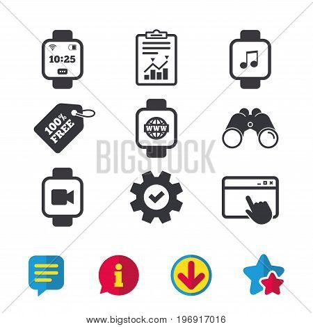 Smart watch icons. Wrist digital time watch symbols. Music, Video, Globe internet and wi-fi signs. Browser window, Report and Service signs. Binoculars, Information and Download icons. Stars and Chat