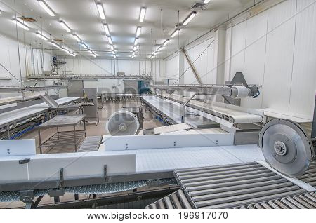 Industrial production cutting large quantities of meat