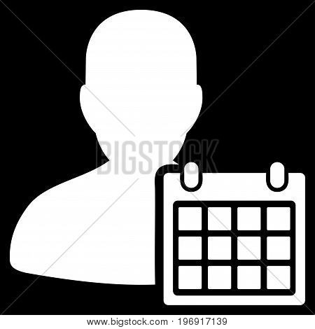 User Schedule vector pictogram. Style is flat graphic symbol, white color, black background.