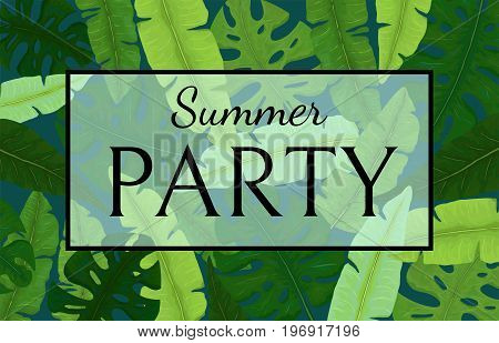 Summer Party Banner with Bright Green Tropical Leaves
