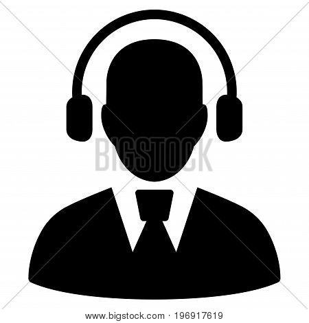 Call Center Operator vector icon. Style is flat graphic symbol, black color, white background.