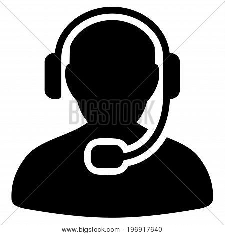 Call Center Worker vector icon. Style is flat graphic symbol, black color, white background.