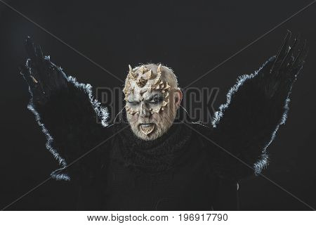Dragon With White Eyes And Beard On Face