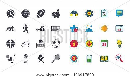 Set of Sport and Fitness icons. Football, tennis and volleyball signs. Swimming pool, Biking and Bowling symbols. Award, Golf and Baseball. Calendar, Report and Browser window signs. Vector