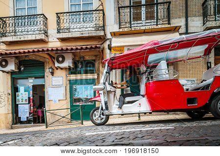 Editorial: 8Th June 2017: Lisbon, Portugal: Tuk-tuk Motorized Taxi On The Street