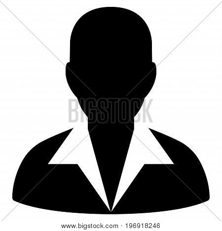 Clerk vector pictogram. Style is flat graphic symbol, black color, white background.