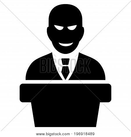 Demagogue vector pictogram. Style is flat graphic symbol, black color, white background.