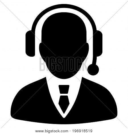 Dispatcher vector pictogram. Style is flat graphic symbol, black color, white background.