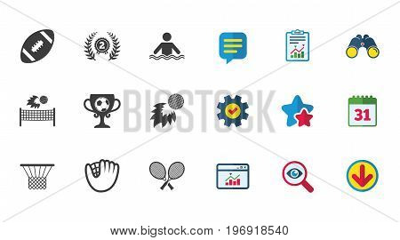 Sport games, fitness icons. Football, golf and baseball signs. Swimming, rugby and winner medal symbols. Calendar, Report and Download signs. Stars, Service and Search icons. Vector