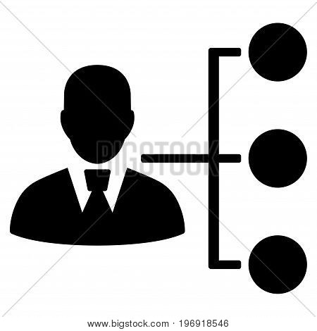 Distribution Manager vector pictograph. Style is flat graphic symbol, black color, white background.