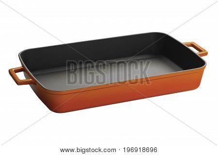 Orange teflon baking tray with pens isolated on white background