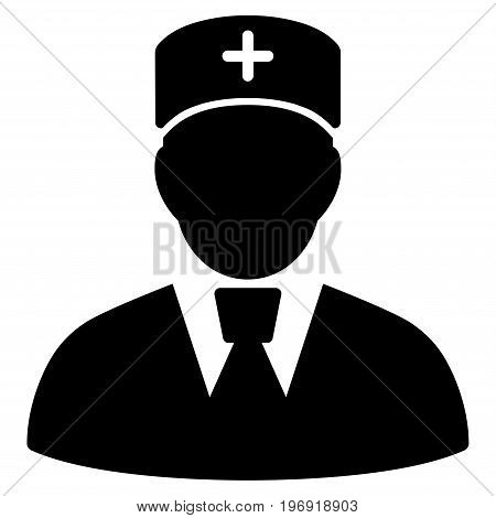 Head Physician vector pictogram. Style is flat graphic symbol, black color, white background.