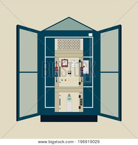 Picture of the electrical panel, electric meter and circuit breakers, high-voltage transformer