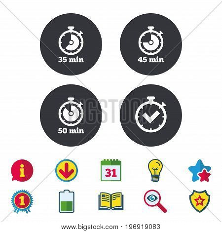 Timer icons. 35, 45 and 50 minutes stopwatch symbols. Check or Tick mark. Calendar, Information and Download signs. Stars, Award and Book icons. Light bulb, Shield and Search. Vector