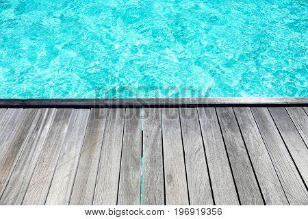 Wooden pontoon at sea resort on summer day