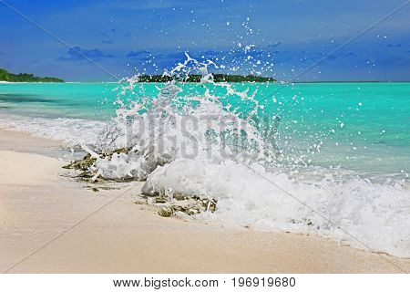 View of beautiful beach at resort on summer day