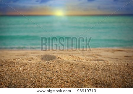 View of beautiful beach at sea resort. Summer vacation concept