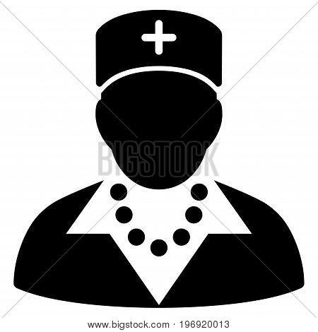 Nurse vector pictogram. Style is flat graphic symbol, black color, white background.