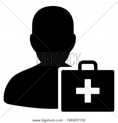 Paramedic vector pictogram. Style is flat graphic symbol, black color, white background.