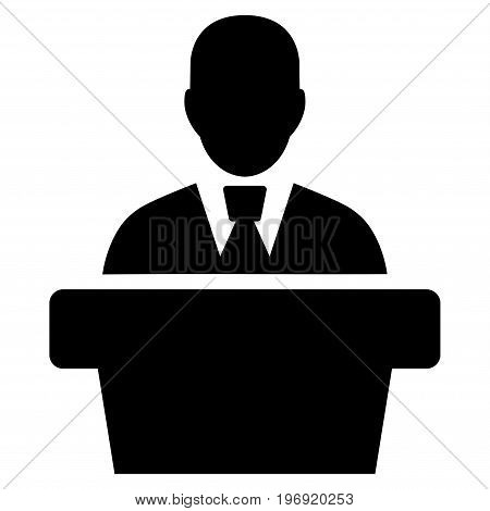 Politician vector pictogram. Style is flat graphic symbol, black color, white background.