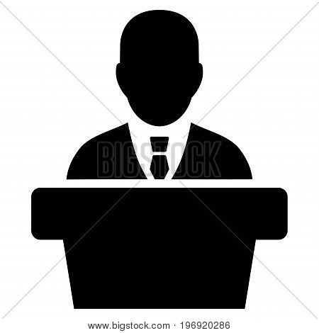 Politician vector icon. Style is flat graphic symbol, black color, white background.