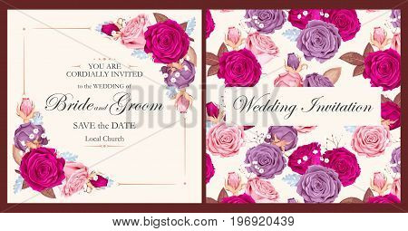 Vintage wedding invitation with varicolored beautiful roses